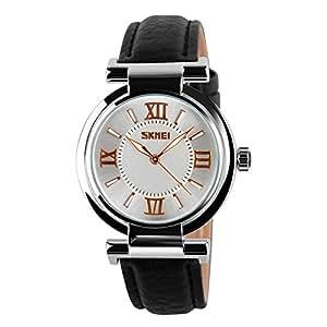oumosi piel reloj puntero pantalla 30m resistente al agua reloj de pulsera de cuarzo de las mujeres