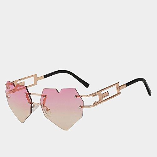 amarillo W de TIANLIANG04 UV400 sol reborde Gafas calidad femenina mujer matices yellow del de w de gafas de oro Gold gafas elegantes corazón moda la pink morado de alta CC1wRq8gx