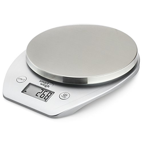 Smart Weigh 11lb/5kg Multifunction Kitchen and Food Scale, Stainless Steel Platform, Large LCD Screen (Silver)