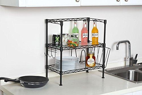 Steel Kitchen Counter Shelf - Wire 2 Shelving Unit Free Standing (Black)