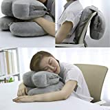 Restwave Nap Pillow, Innovative Travel Neck Pillow with Arm Rest, The Best Multi-use Neck Pillow   Desk Nap Pillow   Back Support Pillow for Perfect Comfort in Any Sitting Position, Natural Grey