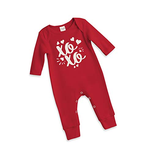 (Newborn Infant Baby Valentine Long Sleeve Onesie with XOXO Print and White Hearts in Red (12-18 Months))