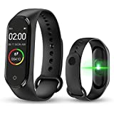 Junaldo M4 Fitness Band, Activity Tracker with Step Count, Pedometer, Heart Rate sendion, BPM, Kcal, Ans Having Many More Functions, Smart Band for Men, Women, Kids (M4 Bkack)