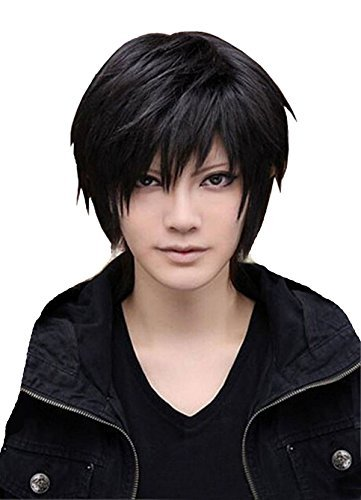 SuperWigy® Wigs for Men's Cool Male Black Short Straight Hair Wig/Wigs Cosplay Party (Mens Long Hair Wigs For Sale)