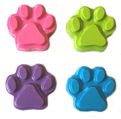 MinifigFans 48 Paw Print Pastel Crayons - Birthday Party Favors - 12 Sets of 4 - Made in the USA from Crayola - Crayon Dog