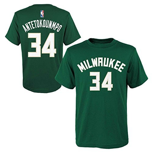Outerstuff Officially Licensed Giannis Antetokounmpo #34 Milwaukee Bucks Youth Name and Number S/S Climalite T-Shirt (X-Large) (Milwaukee Bucks T-shirt)