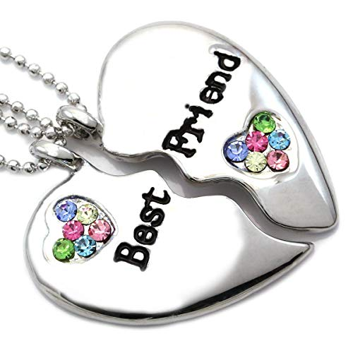 Soulbreezecollection Best Friends Forever Multicolor Heart Necklace Engraved Pendant