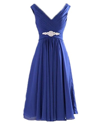 WeiYin Women's Short Chiffon V-Neck Cocktail Dresses Bridesmaid Dresses Royal Blue US 2