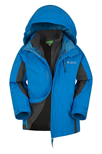 Mountain Warehouse Cannonball Kids 3 in 1 Waterproof Rain Jacket Turquoise 5-6 Years
