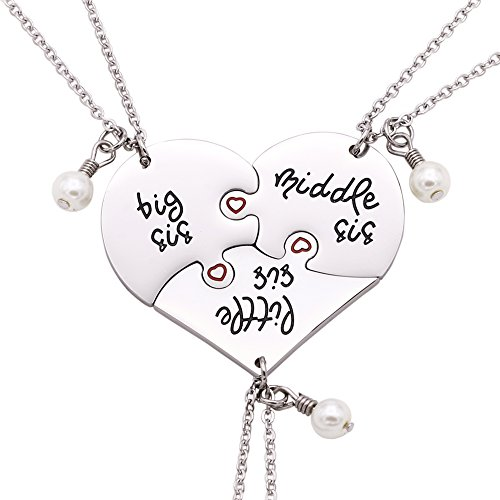 Melix Home Big Sis Middle Sis Little Sis Jewelry Necklace Set 3 Pieces,Best Friend Necklaces Girls Jewelry (White)