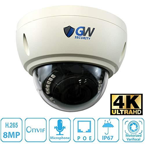 GW Security 8 Megapixel 4K (3840x2160) 2.8-8mm 3X Optical Motorized Zoom Outdoor Indoor IK10 Vandalproof Onvif H.265 8MP Dome PoE IP Camera Built-in Microphone, 80FT Night - Waterproof Night Vision Microphone