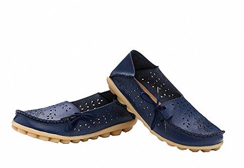 Dagdrivaren Skor, Kvinnor Dagdrivare För Läder Drivskor Platta Slip-on Tofflor Mörkblå