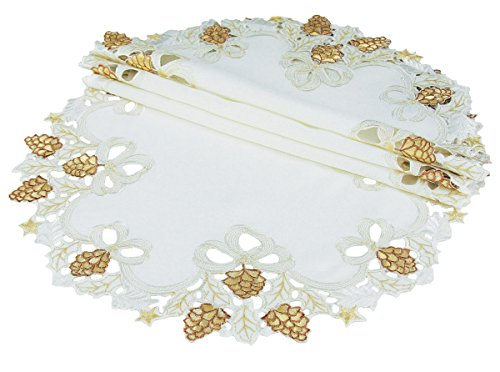 Xia Home Fashions Gilded Pines Embroidered Cutwork Christmas Doilies, 12'', Set of 4 by Xia Home Fashions