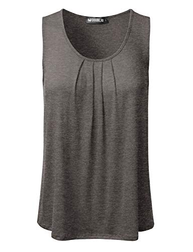 Top Neckline Sleeveless (DRESSIS Women's Basic Soft Pleated Scoop Neck Sleeveless Loose Fit Tank Top HGREY S)
