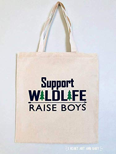 Support Wildlife Raise Boys Tote, Raising Boys Bag, Funny Everyday Tote, Cotton Canvas 15 x 16 inch, Natural -