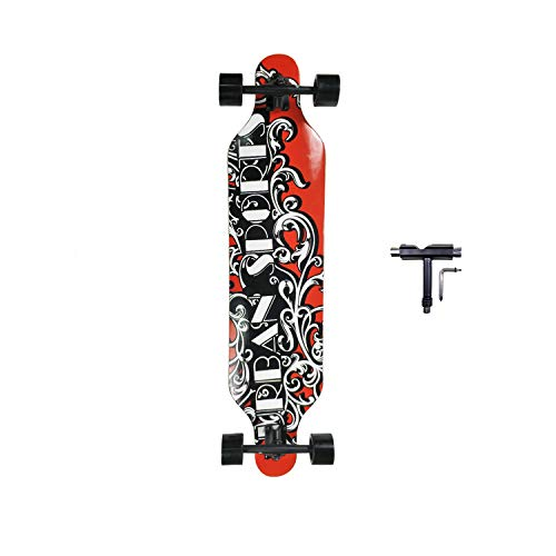 SHINPORT 9.5x41 Inch Longboard Skateboard for Hybrid Freestyle Dancing Cruising Carving Top Mounted Deck with Soft Wheels ABEC-9 Bearings