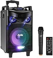 Moukey Karaoke Machine, PA System - 140 Watt Bluetooth Outdoor Portable Wireless Karaoke Speaker System-PA Ste