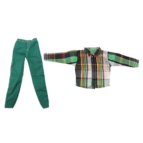 Dovewill Casual Clothes Plaid T-shirt Pants Suit for 1/6 Barbie Ken & Same-Size Friends Man Dolls Outfit Green