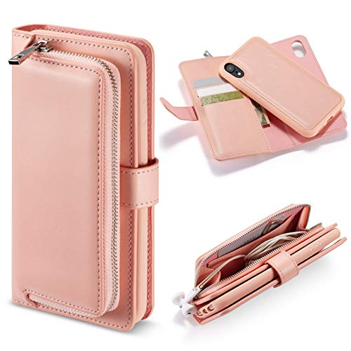 (iPhone XR Case, iPhone XR Wallet Case, FLYEE 2 in 1 Detachable Premium Flip Wallet Leather Magnetic Case Purse with Zipper Coin Credit Card Holder Cover for iPhone XR 6.1 inch Pink)