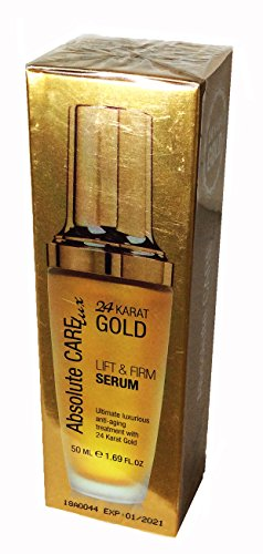 ABSOLUTE CARE LUX 24 KARAT GOLD LIFT & FIRM SERUM. ANTI-AGING TREATMENT. DETOXIFY THE SKIN AND PROVIDES AN EVEN AND FRESH COMPLEXION. 1.69 FL OZ