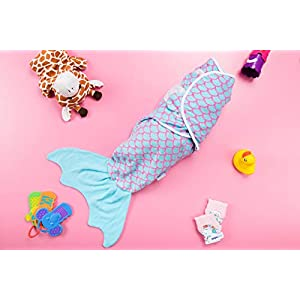 Simple Being Fish Swaddle Blanket, Adjustable Wearable Infant Baby Wrap Set, Soft Cotton Newborn Receiving Sleep Sack, Unisex Boy and Girl, Registry Must Have (Pink and Blue Mermaid)