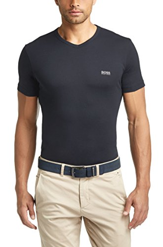 Hugo Boss Mens Short Sleeve T-shirt 'Teevn' with V-neck - Navy Blue (XXL)