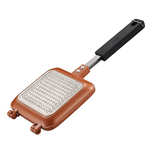 Gelinzon Double Coated Copper Nonstick Grilled Sandwich and Panini Maker with Handles