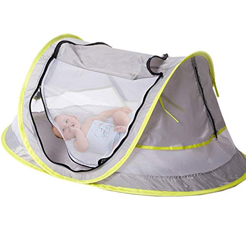 Baby Travel Bed, Portable Baby Beach Tent UPF 50+ Sun Shelter, Baby Travel Tent Pop Up Mosquito Net and 2 Pegs, Ultralight Weight (Style 2)
