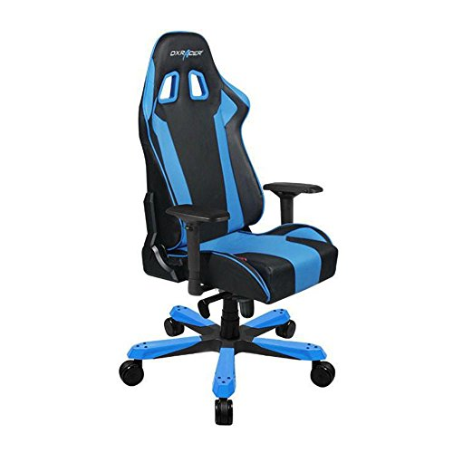 DXRacer OH/KS06/NB Black & Blue King Series Gaming Chair Ergonomic High Backrest Office Computer Chair Esports Chair Swivel Tilt and Recline with Headrest and Lumbar Cushion + Warranty