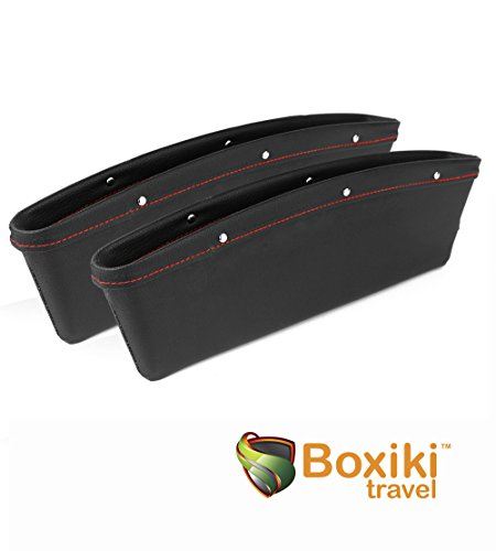Vehicle Storage Box | Premium PU Leather Seat Catcher | Gap Filler Car Organizer| Compartment for Snacks, Electronics &Travel Essentials | Seat Side Pocket by Boxiki Travel