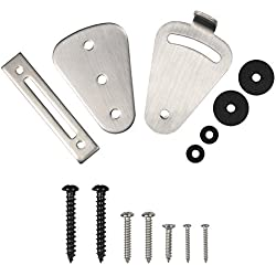 Sliding Door Latch Lock Mini Stainless Steel Lock Set for Sliding Barn Wooden Door Gate Garage Shed Door Brushed Satin Latch