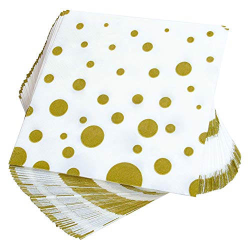 Dots Beverage Napkins - Aneco 150 Pack Gold Polka Dot Napkins White with Gold Dots Cocktail Napkins for Wedding, Party, Birthday, Dinner, Lunch, Napkins with 2 Layers, 5 by 5 Inches