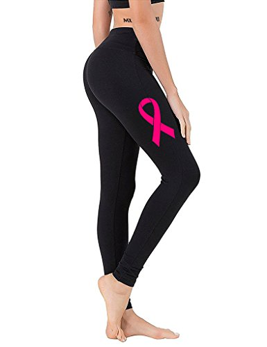 Interstate Apparel Junior's Pink Breast Cancer Ribbon V393 Black Athletic Workout Leggings One Size Fit Most