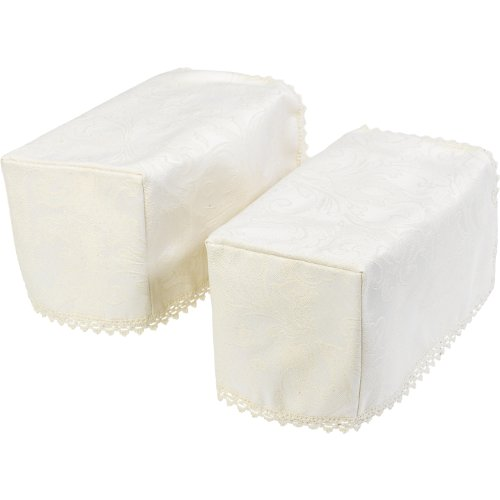 Classic Home Store Decorative Jacquard Damask Standard Square Pair of Arm Caps - Cream by Classic Home Store