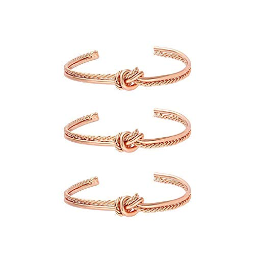 MANZHEN Simple Knot Love Knot Bangle Adjustable Open Cuffs Bracelet for Women Tie The Knot Bangle (3 pcs Rose Gold)
