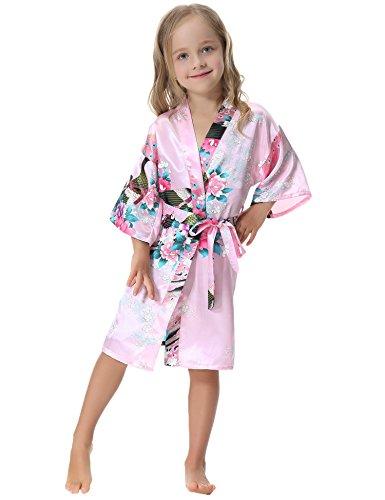 Aibrou Girls' Peacock Satin Kimono Robe Bathrobe Nightgown For Party Wedding,8,Pink for $<!--$12.90-->