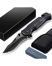 Kinglink Klappmesser 3-in-1 Taschenmesser Set - Extra scharfes Einhandmesser mit hochwertiger Edelstahlklinge | mit Wellenschliff Gürtelclip Outdoor Messer I Rettungsmesser