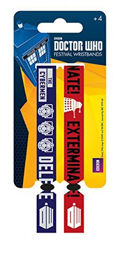 1art1 Doctor Who Wristband for Collectors - Cybermen, Daleks Exterminate! Set of 2 10mm Wristbands (4 x 1 inches)