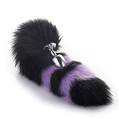 Black & Purple Color Interval Three Sizes Fluffy Faux Fox Tail & Cat Ears Headband Charms Role Play Costume Party Cosplay Prop (Black-Purple, S): Toys & Games