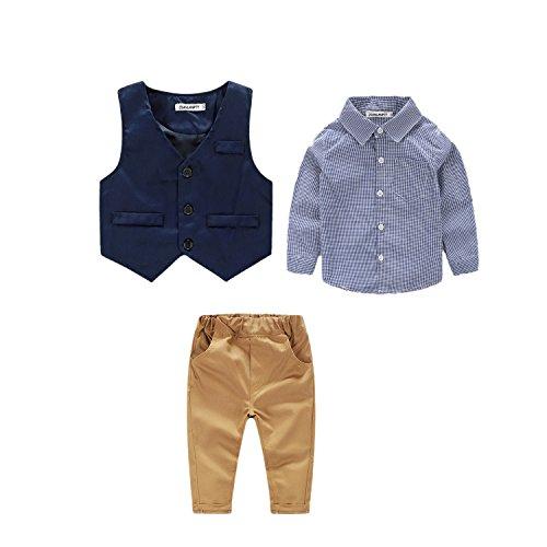 JIANLANPTT Baby Boy Gentleman Suit Toddler Kids Plaid Long Sleeved Shirt Vest Pant Clothes Set Blue 6-12months