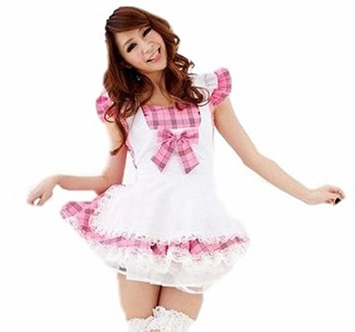 [POJ Lolita Maid Costume of Japanese Cafe [ M Size Check Pink for Women ] Cosplay] (Reality Tv Characters Costumes)