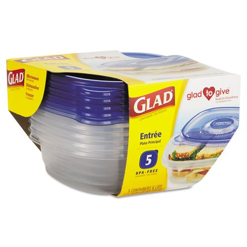Glad GladWare Entrée Container with Lid, 25 oz., Plastic, Clear, 5/Pack