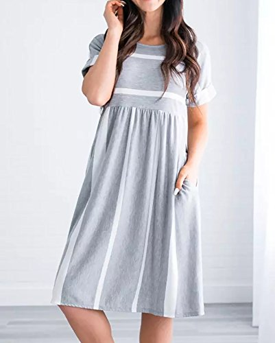 Striped Womens Dress Grey Elastic Waist Pockets Neck with Length Dress Short Crew Knee Sleeve Bigyonger dtn0SPqq