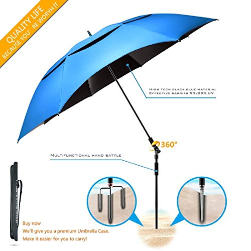 BESROY Portable Beach Umbrella - Outdoor Sunshade with Telescoping Pole, Windproof Stakes & Carry Bag - UV Protection, 360° Rotating, for Beaches, Patio, Pools, Terraces, Parks (Sky Blue)