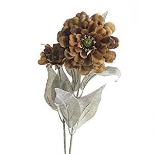 Factory Direct Craft Group of 10 Artificial Autumn Mossy Brown Zinnia Floral Sprays for Crafting, Creating and Embellishing 83