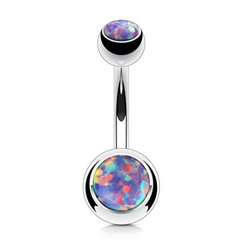 (Fifth Cue Opal Set Double Jeweled 316L Surgical Steel Naval Belly Button Ring (Opal Purple))