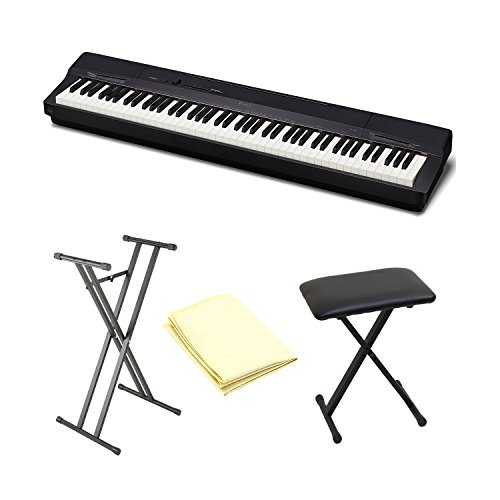 Casio Privia PX-150 Digital Piano (Black) Bundle with Piano Bench,Double Braced Stand and Zorro Sounds Piano Polishing Cloth