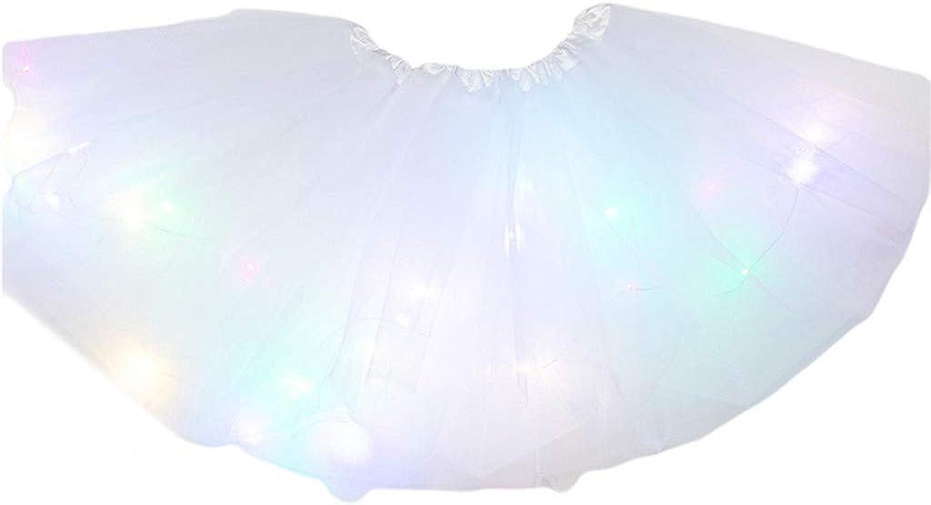 Kids Girl LED Light Up Tutu Skirt Neon Colorful Luminous Party Dance Short Dress