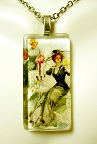 (Hat shopping with my chihuahua glass pendant - DGP02-418 - Harrison Fisher)