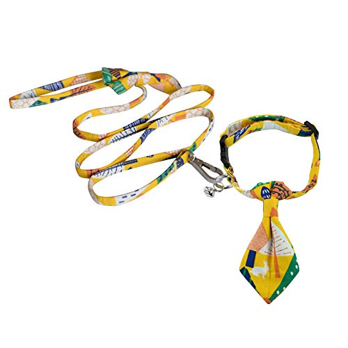 (Nordmiex Pet Collar Leash Set - PinCool Adjustable Pet Collar with Matching Ties and Bell for Cat Cotton Dog Collar and Leash Combo with Forest Pattern for Puppy Small Medium Dogs and Cats,Yellow-S)